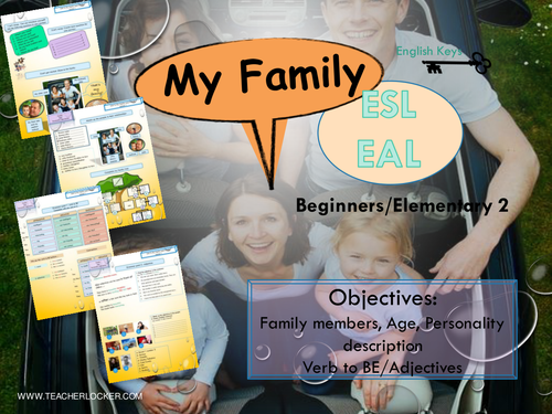 ESL EAL, Family and personality description, Unit2/Lesson1, (Lesson + Exercices) No Prep