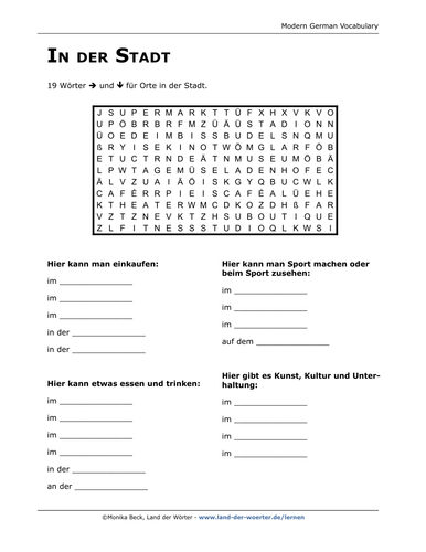 german vocabulary word search puzzle in town by landderwoerter teaching resources. Black Bedroom Furniture Sets. Home Design Ideas