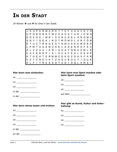 German vocabulary  In Town - Crossword Puzzles