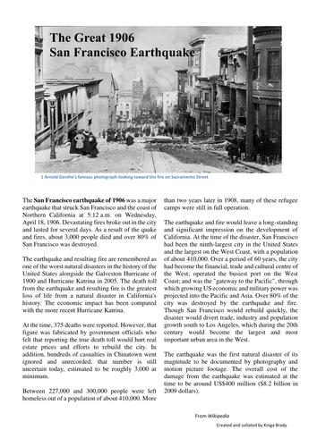 Writing to Describe  - The San Francisco Earthquake - An Eyewitness Account