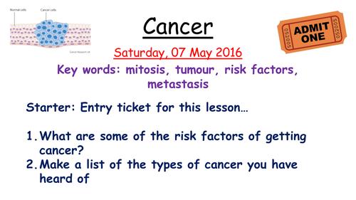 The Evolution of Cancer Worksheet by OxfordUniversity Teaching – Cancer Worksheet