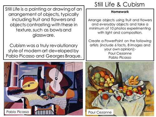 still life cubism powerpoint and handout by helenm23 teaching resources tes. Black Bedroom Furniture Sets. Home Design Ideas