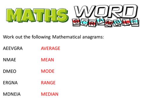 Maths Literacy Word Scramble