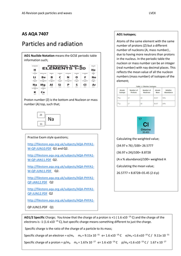 Particles  AS Physics, guarantee success in AO1 and AO2 questions, student booklet/exam questions