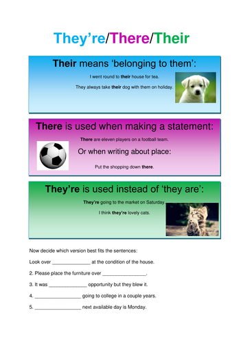They're/Their/There Worksheet