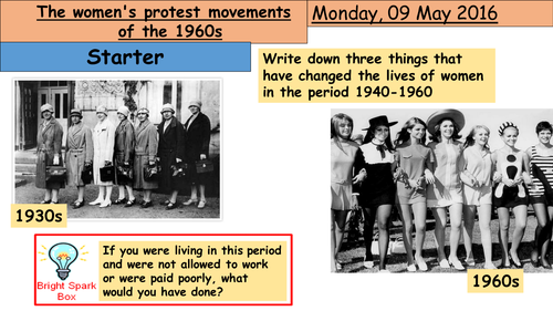 GCSE lesson - The womens protest movements of the 1960s in America