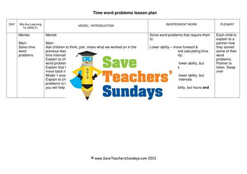 Time Word Problems KS1 Worksheets Lesson Plans and PowerPoint by – Time Word Problems Worksheets