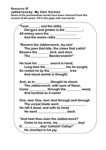 jabberwocky poetry worksheet by ks2history teaching resources. Black Bedroom Furniture Sets. Home Design Ideas