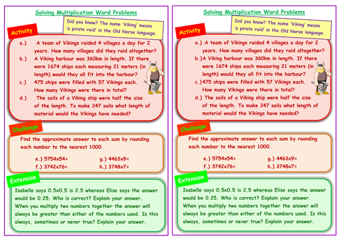viking themed multiplication word problems involving rounding thhtu x tu u ks2 year 5 6 by. Black Bedroom Furniture Sets. Home Design Ideas
