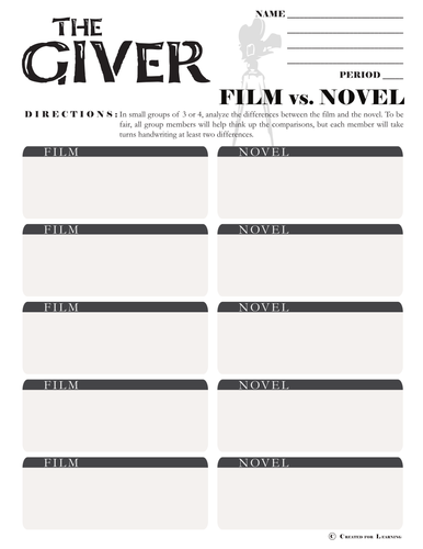 giver movie vs novel comparison by createdforlearning teaching resources tes. Black Bedroom Furniture Sets. Home Design Ideas