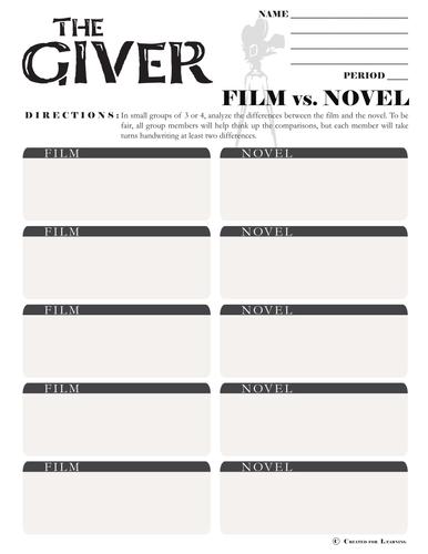 GIVER Movie vs. Novel Comparison