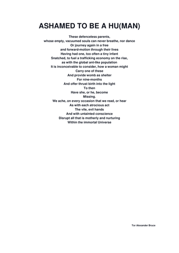 UNSEEN POEM - ASHAMED TO BE HUMAN (ON SUBJECT OF CHILD TRAFFICKING)