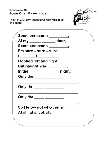 39 some one 39 poetry worksheet ks2 by ks2history teaching resources tes. Black Bedroom Furniture Sets. Home Design Ideas