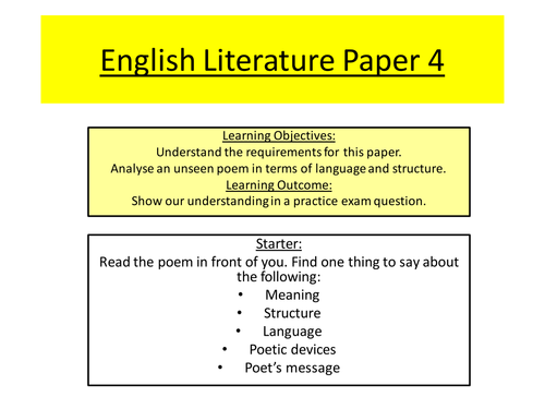 iGCSE English Literature Paper 4 Unseen Poetry