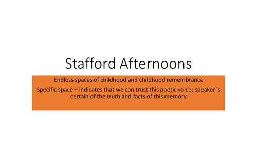 Duffy's 'Stafford Afternoons' analysis for new AQA AS/A Level English Language and Literature
