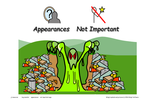 'Appearances Not Important'  Symbol Supported Story in the Bog Monster Series