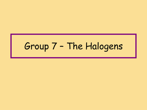 New specification Year 9 halogen lesson