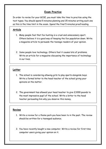 English Lanague WJEC - Unit 2 Section B - Text Type Practice Tasks - Revision