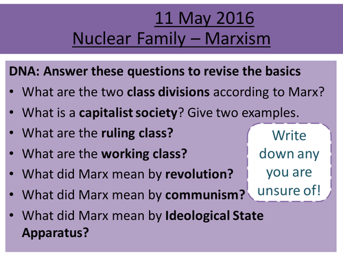 Sociology H580 / H180 Nuclear Family: Marxism
