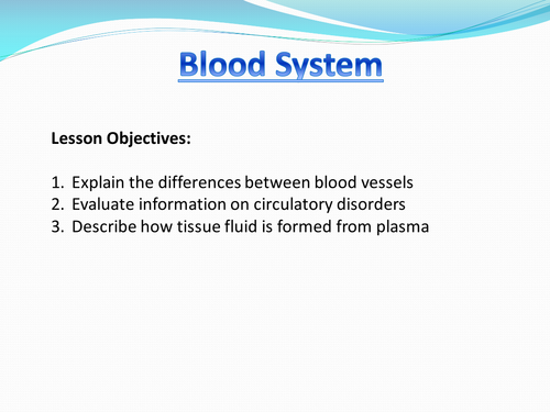 Blood and Tissue Fluid AS AQA Biology