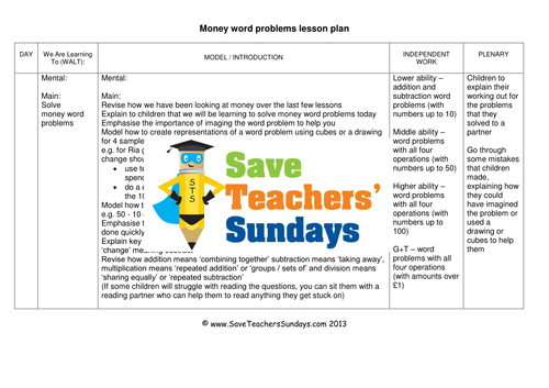 Money Word Problems Ks1 Worksheets Lesson Plans And Powerpoint