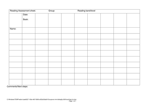 Easy to use reading assessment sheet