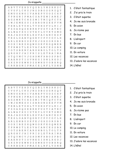 holidays wordsearch