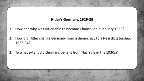 GCSE - Germany 1890-1945 - Why did Hitler become Chancellor?