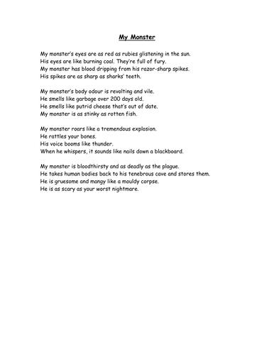 Poetry - Greek Monster