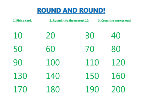 Rounding to the nearest 10 board game