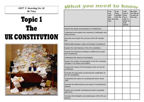 UK Politics UK Constitution Workbook