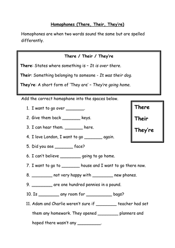 Homophones - There, Their, They're - Are and Our - Literacy by ...