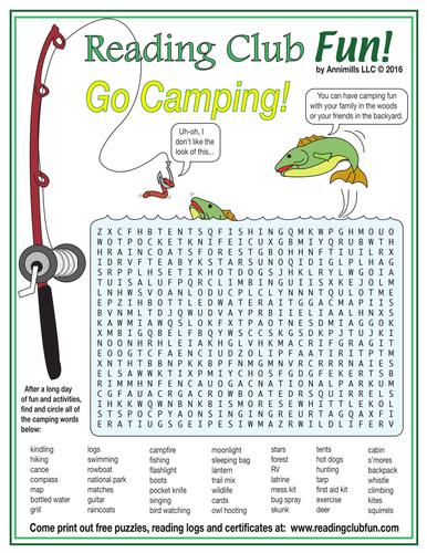 Summer Camping Word Search Puzzle Teaching Resources
