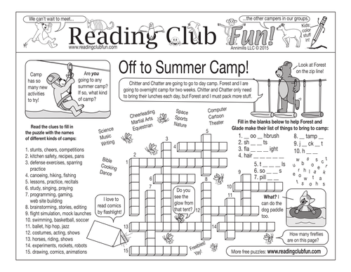 Summer Camping Reading Log and Certificate Set