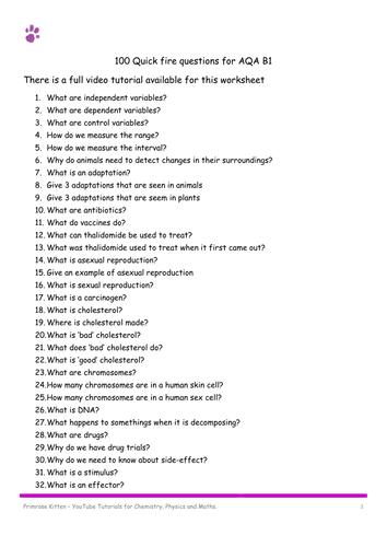 100 quickfire B1 questions for AQA GCSE Biology Revsions
