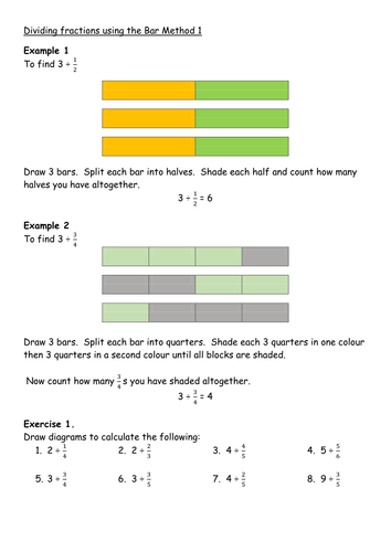 Dividing Fractions using the Bar Method | Teaching ResourcesTes
