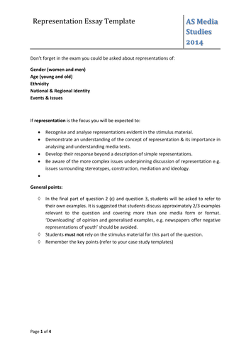 Representation Essay Template