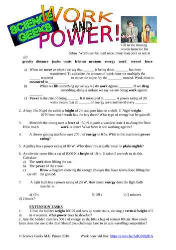 Physics - Work Done and Power