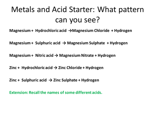 Metals and Acids and Metals and Water