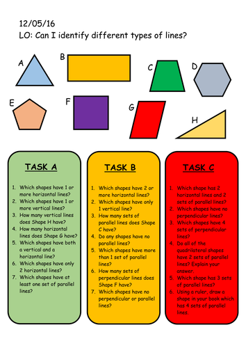 Year 4 Differentiated Lines Worksheet Vertical