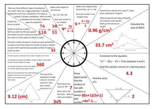 GCSE Maths Revision - Set 1 - Clock style sheet