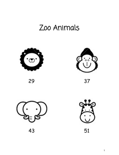 Zoo Animals - A Base 10 Project for 1st Grade