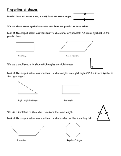 Properties Of Shapes Using Symbols On Shapes By Thefootballwitch