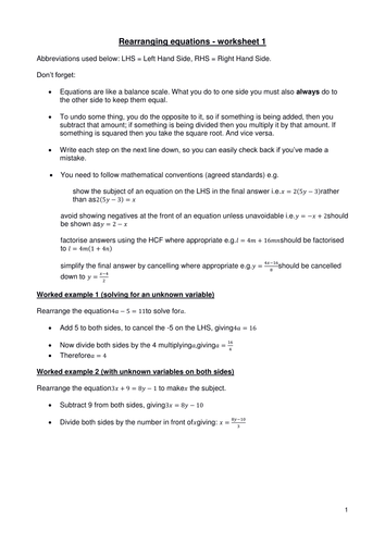 Rearranging equations - worksheet 1 (version 2) by Kevald - Teaching ...
