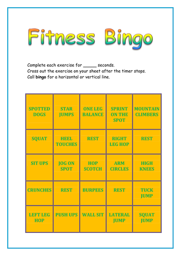 Fitness Bingo Fitness Components Game Healthy Active