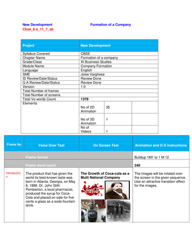Story Board on Formation of a Company_BusinessStudies