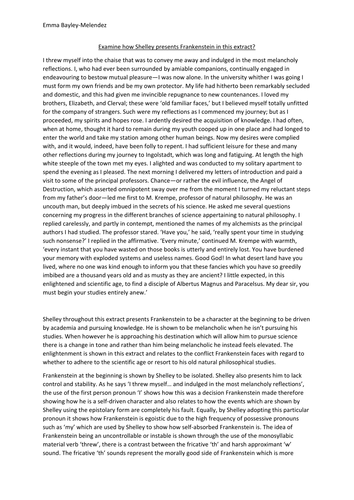 New Aqa Eng Lang  Lit  Frankenstein Essay A Grade  Thesis Statements For Persuasive Essays Essays On Health Care New Aqa Eng Lang  Lit  Frankenstein Essay A Grade  Biographical Essay Sample also Best English Essay