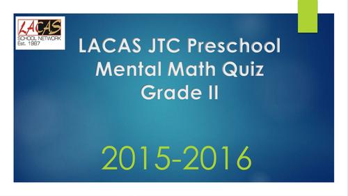 Mental Math Quiz Grade 2