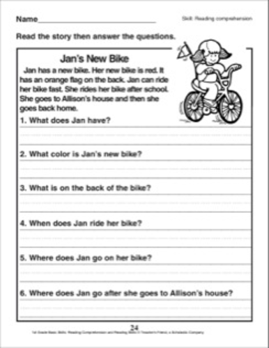 English Comprehension Worksheet For Kindergarten And Grade