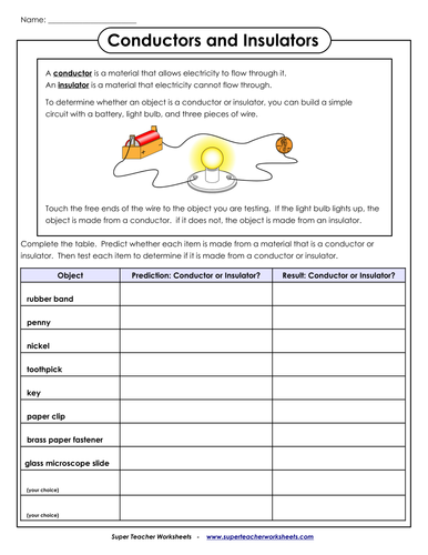 Conductor and insulator worksheet for 2nd and 3rd graders by ...